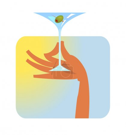 Hand with martini glass.