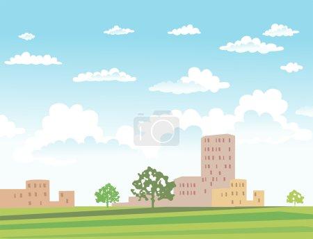 Illustration pour Paysage urbain vectoriel avec bâtiments et arbres par temps ensoleillé - image libre de droit