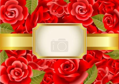 Illustration for Frame on a red roses background, vector illustration. - Royalty Free Image