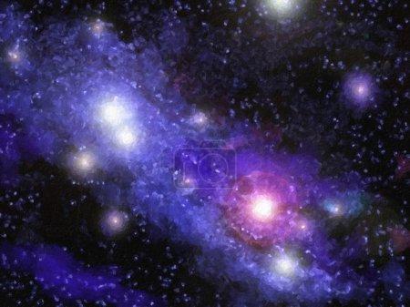 Photo pour Une peinture numérique d'une nébuleuse dans l'espace. Il s'agit d'une nébuleuse fictive et non conçue sur un photgraphe ou une nébuleuse en particulier . - image libre de droit