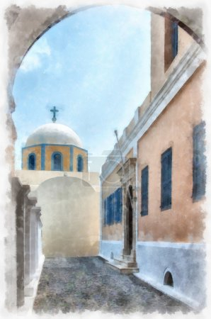 Fira catholic cathedral digital watercolor painting