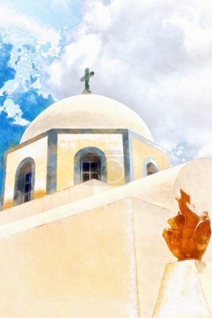 Fira catholic cathedral digital watercolour painting