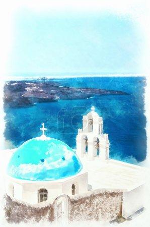 Firostefani church digital watercolor painting