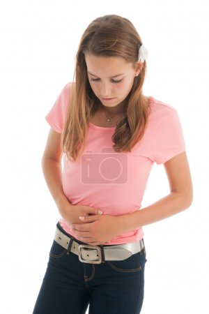 Teen girl with stomach ache