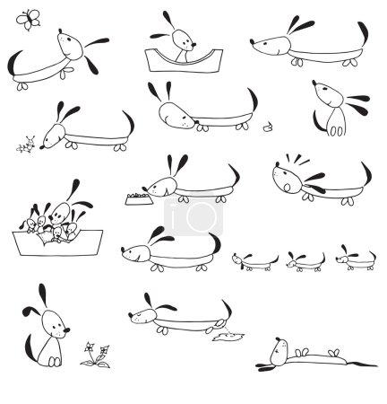Photo pour Cycle de vie du chien dessiné à la main dans de simples illustrations isolées sur fond blanc - image libre de droit