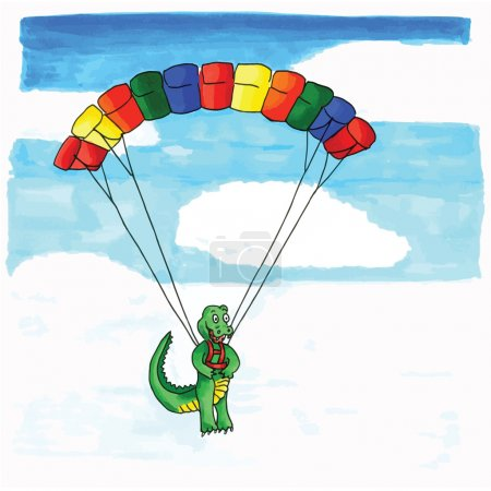 Crocodile parasailing