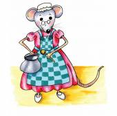 Funny grandmother mouse with pan and spoon in the kitchen isolated over white background