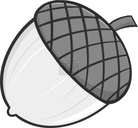 Acorn Cartoon Illustrations In Gray Color