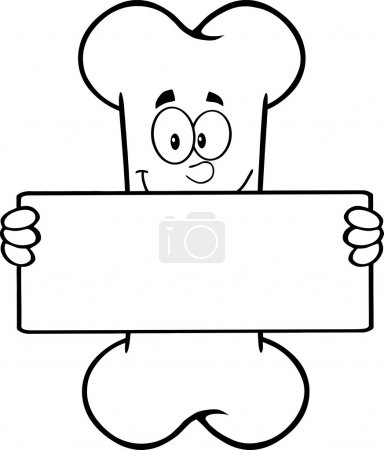 Black And White Funny Bone Cartoon Mascot Character Holding A Banner