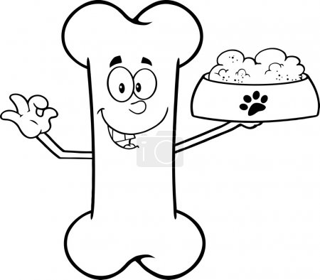 Black And White Bone Cartoon Mascot Character Holding A Dog Food In Red Bowl Dish