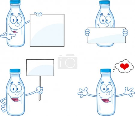 Milk Bottle Cartoon Mascot Character In Different ...