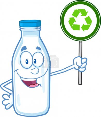 Cute Milk Bottle Character Holding A Recycle Sign