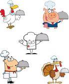 Různé šéfkuchař kreslený maskot postavy