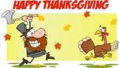 Happy thanksgiving greeting with pilgrim