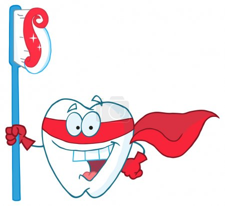 Illustration for Smiling Superhero Tooth With Toothbrush - Royalty Free Image