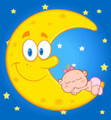 Baby Girl Sleeps On  Moon