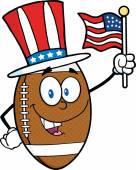 American Football Ball with  USA Flag