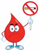 Angry Red Blood Drop Cartoon Character Holding up A No Smoking Sign