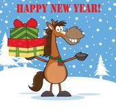 Happy New Year Greeting With Horse