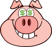 Rich Pig Head With Dollar Eyes