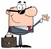 Friendly Businessman Waving A Greeting