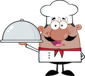 Happy African American Chef Cartoon Character Holding A Platter Vector Illustration Isolated on white