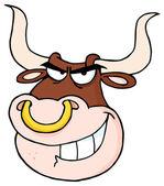 Rozzuřený býk hlava kreslený maskot