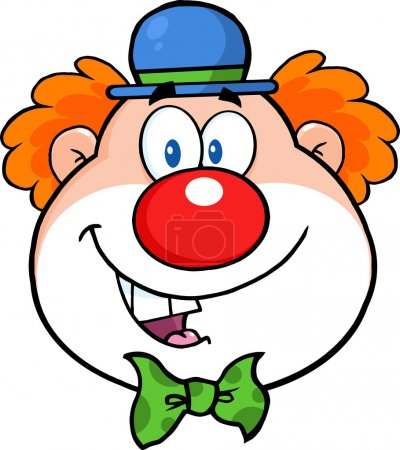 Illustration for Funny Clown Head Cartoon Character. Vector Illustration Isolated on white - Royalty Free Image