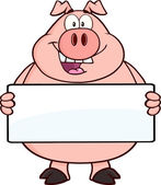 Happy Pig Cartoon Mascot Character Holding A Banner Vector Illustration Isolated on white