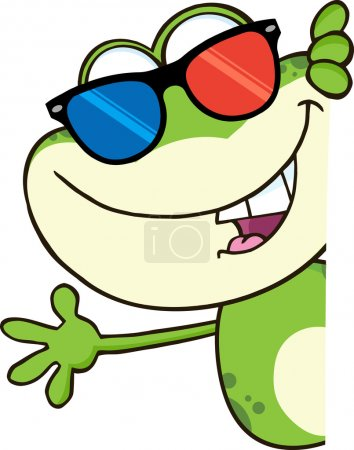 Cute Frog With 3D Glasses Cartoon Character Lookin...