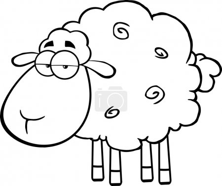 Illustration for Black And White Cute Sheep Cartoon Mascot Character. Vector Illustration Isolated on white - Royalty Free Image