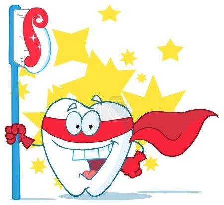 Superhero Tooth With Toothbrush