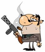 Cartoon gangster character  with gun