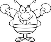 Black And White Pudgy Bee Cartoon Mascot Character Wearing Boxing Gloves