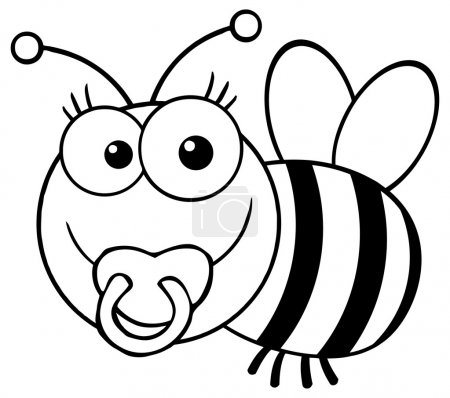 Outlined Baby Bee