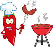Red Chili Pepper Chef With Barbecue