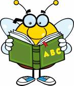 Pudgy Bee Cartoon Mascot Character With Glasses Reading A ABC Book