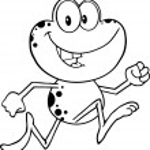 Black And White Cute Frog Cartoon Character Runnin...
