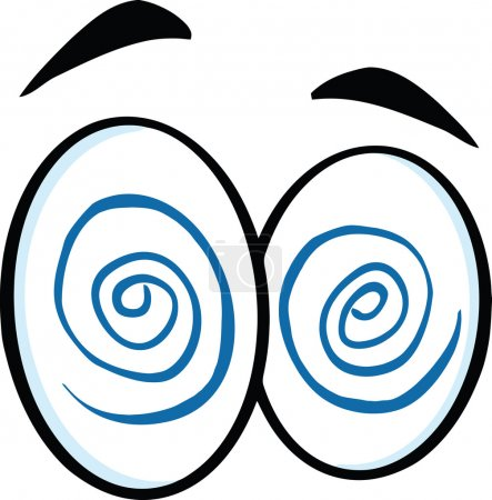 Illustration for Hypnotized Cartoon Eyes. Vector Illustration Isolated on white - Royalty Free Image