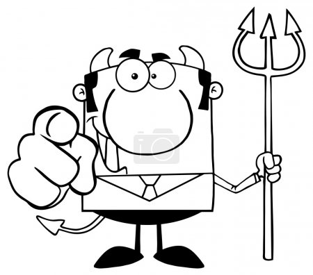 Illustration for Outlined Smiling Devil Boss With A Trident And Hand Pointing Finger - Royalty Free Image