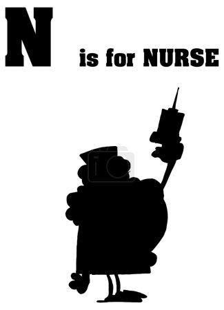 Alphabet letter N with cartoon nurse