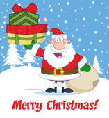 Merry Christmas Greeting With Santa Claus Holding Up A Stack Of Gifts