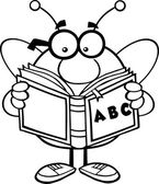 Black And White Pudgy Bee Cartoon Mascot Character With Glasses Reading A ABC Book