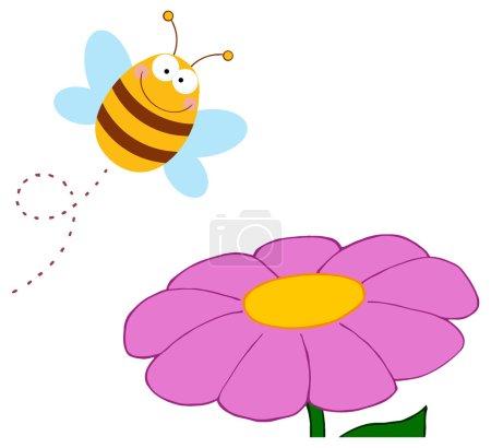 Bee Cartoon Character Flying