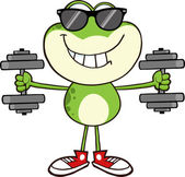 Frog With Sunglasses Training With Dumbbells