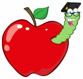 Happy Worm In Apple