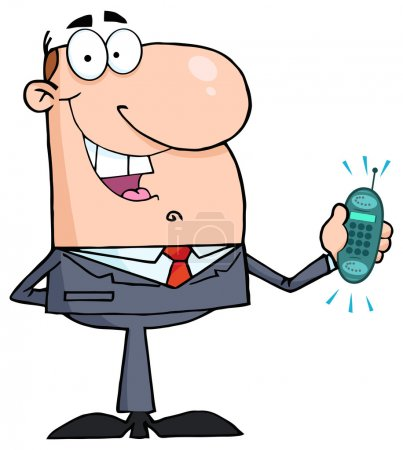 Happy Businessman With Phone Ringing.