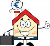 Smiling House Businessman Carrying A BriefcaseGiving A Thumb Up With Smoke Cloud And Euro Sign