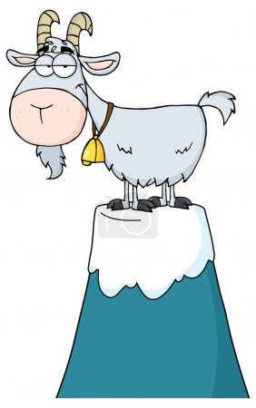 Illustration for Goat Cartoon Character On Top Of A Mountain Peak - Royalty Free Image