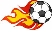 Flaming Soccer Ball Vector Illustration Isolated on white